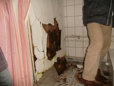 Dusche und kaputte Wand